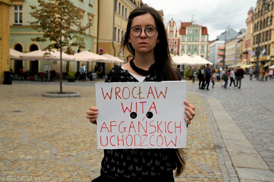 Wrocław. Manifestacja 'w obronie afgańskich sojuszników', 18.08.2021