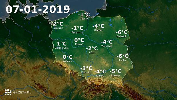 Mapa temperatury 7.01.2019