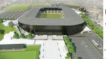 Wcześniejsza wizualizacja stadionu Pogoni - przed oszczędnościowymi zmianami. Widok od strony  ul. Twardowskiego