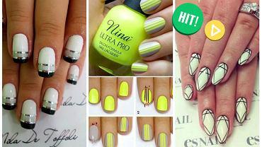 Manicure ombre z wykorzystaniem tasiemki do paznokci