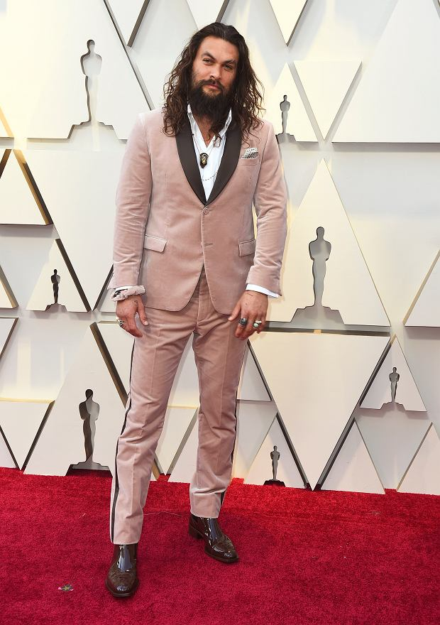 Jason Momoa arrives at the Oscars on Sunday, Feb. 24, 2019, at the Dolby Theatre in Los Angeles. (Photo by Jordan Strauss/Invision/AP)