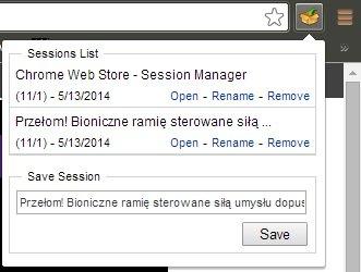 Session Manager dla Google Chrome