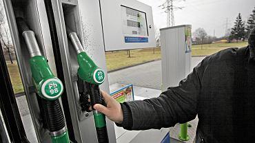 Dystrybutor na stacji benzynowej w Krakowie.