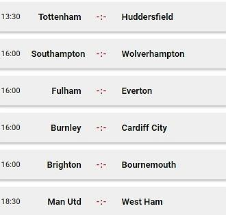 Sobotnie mecze ligi angielskie