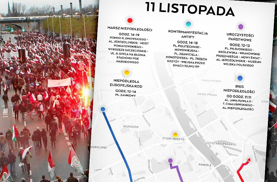 Marsz Niepodległości 2016 r. i mapa tegorocznych zgromadzeń