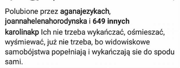 Wpis Karoliny Korwin Piotrowskiej