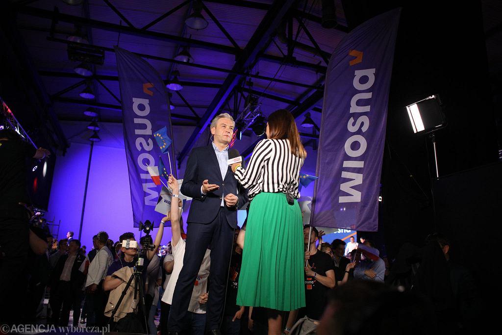 Wybory do europarlamentu 2019. Robert Biedroń (Wiosna) po ogłoszeniu sondażu exit-poll