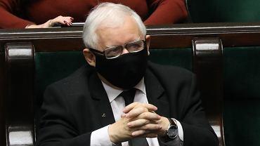 Prezes PiS Jarosław Kaczyński podczas debaty i głosowań. 20. posiedzenie Sejmu X kadencji, Warszawa, 28 października 2020