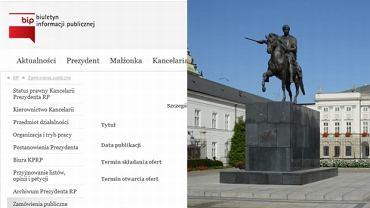 Fragment strony Kancelarii Prezydenta / Pałac Prezydencki