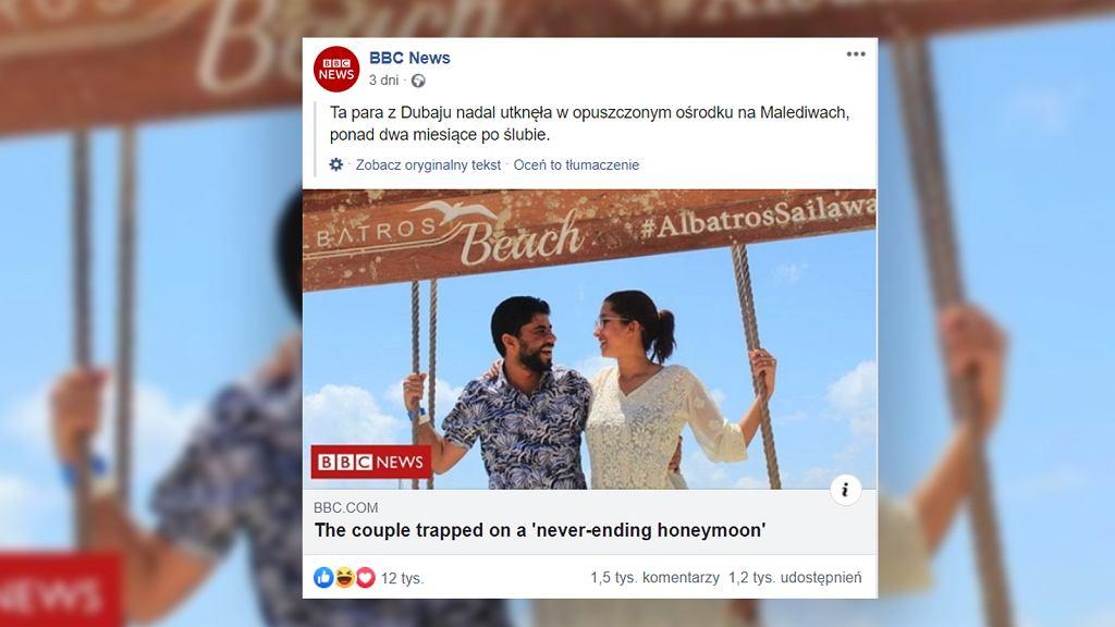 Nowożeńcy utknęli na Malediwach. Niekończący się miesiąc miodowy