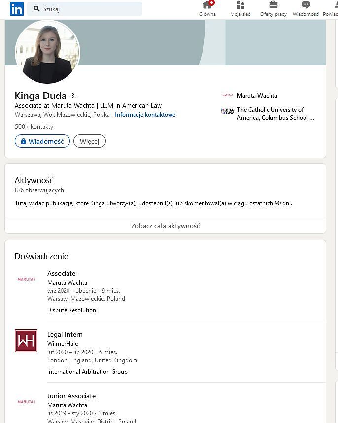 Kinga Duda na LinkedIn