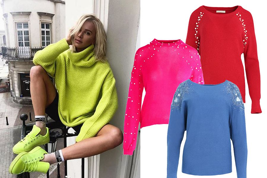 kolorowe swetry damskie/mat. partnera