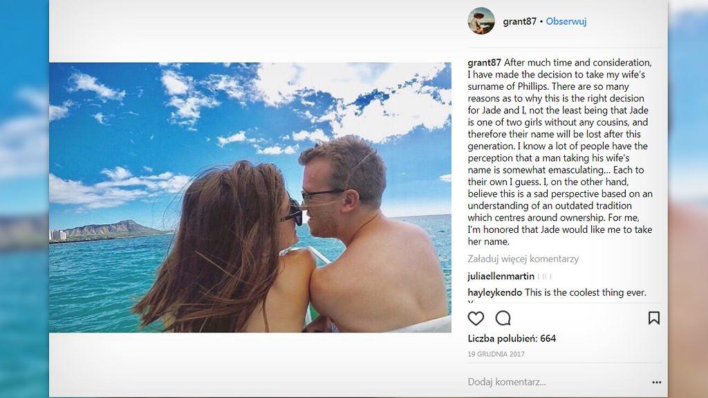Grant przyjął nazwisko żony.
