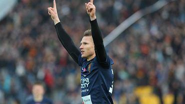 Marcin Robak po zdobyciu gola w meczu z Widzewem