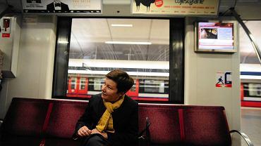 Hanna Gronkiewicz-Waltz w porannym kursie metra