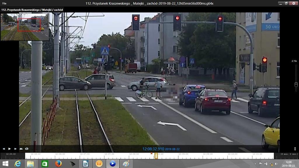 Wypadek w rejonie skrzyżowania ul. Kraszewskiego i Matejki