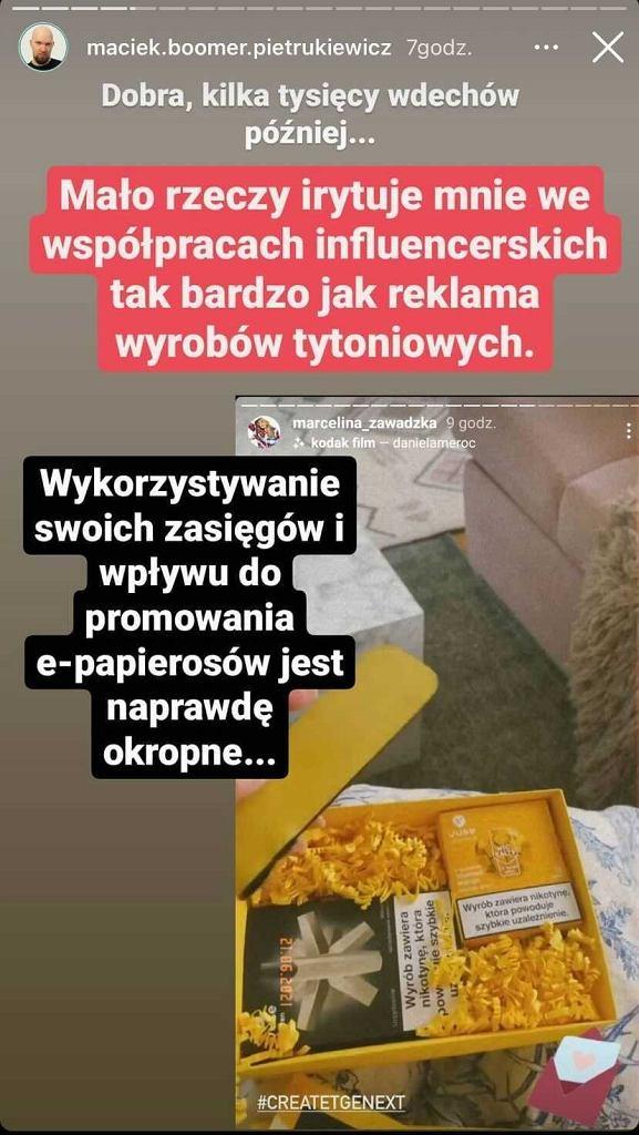 InstaStory Maćka Boomera Pietrukiewicza