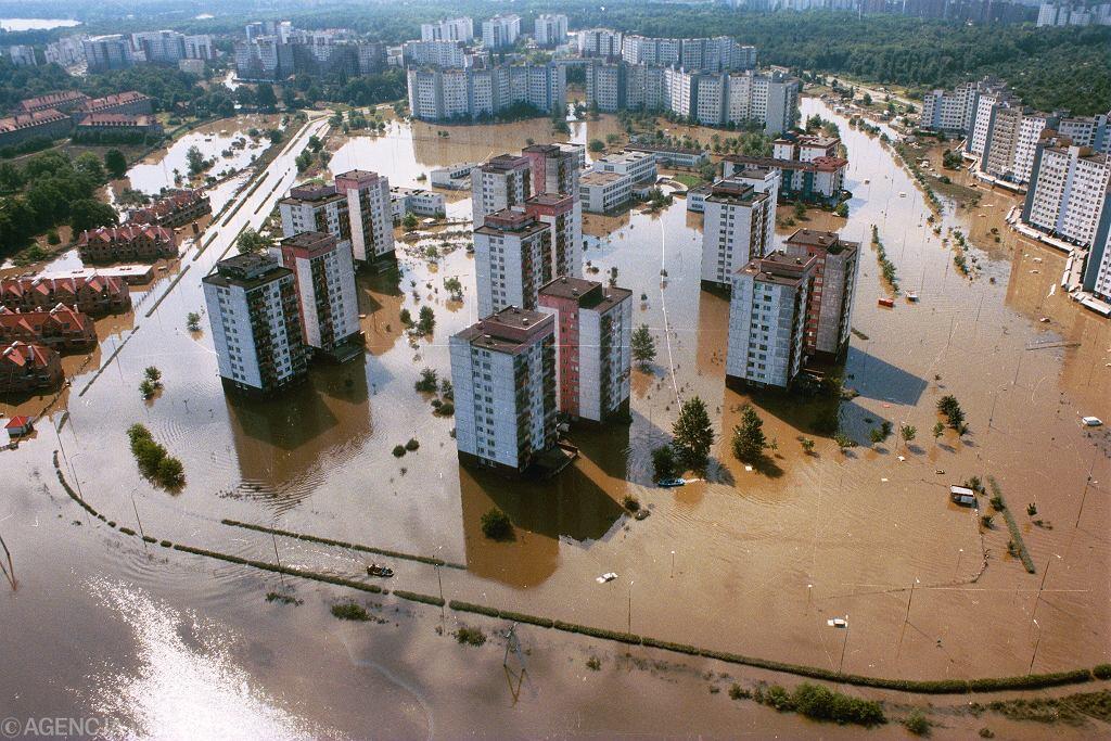 Wrocław podczas powodzi w 1997 roku.