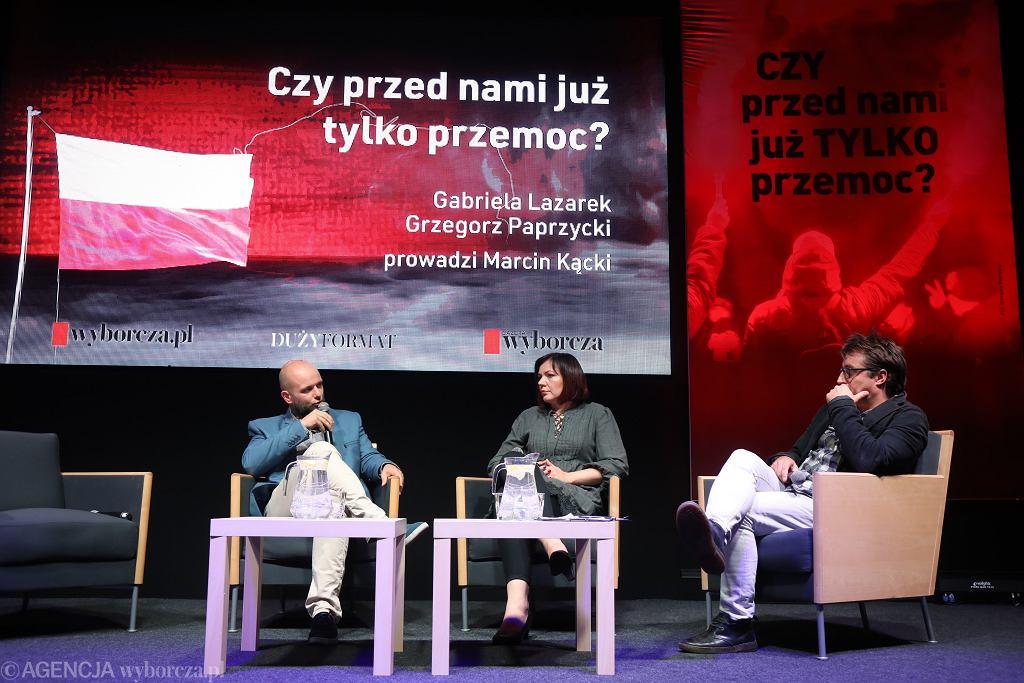 Dyskusja po projekcji filmu 'Mój kraj taki piękny', od lewej: reżyser Grzegorz Paprzycki, Gabriela Lazarek i Marcin Kącki