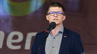 Prezentacja piłkarzy Lechii. Wiceprezes Lechii Maciej Bałaziński