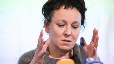 Laureatka Nobla 2019, pisarka Olga Tokarczuk podczas konferencji po ogłoszeniu nagrody. Bielefeld, Niemcy, 10 października 2019