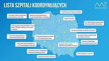 Koronawirus. Lista szpitali koordynujących
