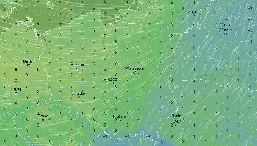 Temperatura, 1 stycznia ok. godz. 13