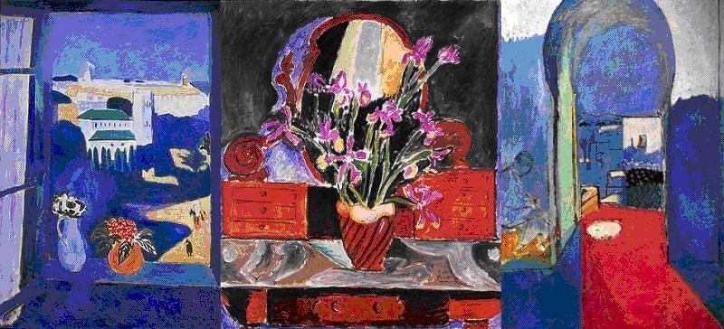 Zanim deszcze w Tangerze minęły i Henri Matisse mógł ruszyć w uliczki medyny, malował w Grand Hotel Villa de France - 'Irysy w wazie' i widoki z okna