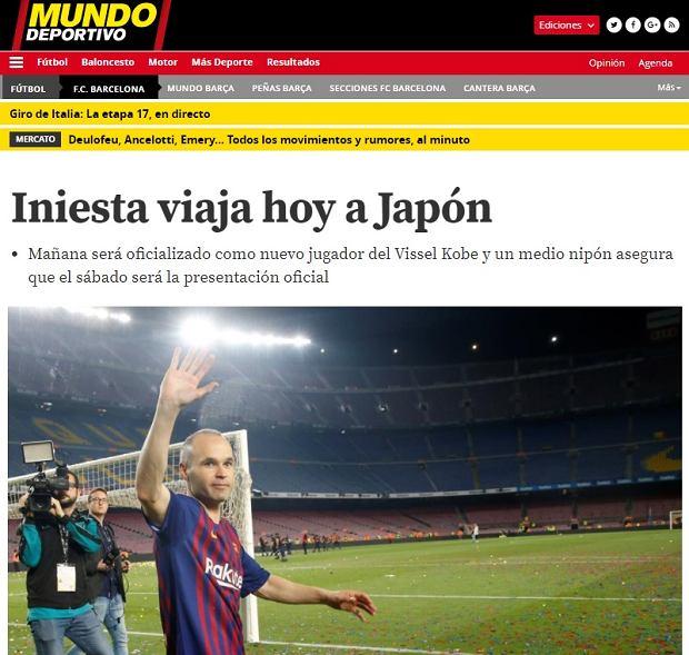 Andres Iniesta zostanie zawodnikiem Vissel Kobe