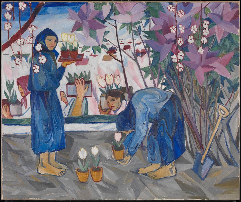 Natalia Gonczarowa, 'Praca w ogrodzie', 1908, olej na płótnie, dzięki uprzejmości Tate Modern, Londyn