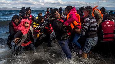 Uchodźcy wyskakują z pontonu u wybrzeży greckiej wyspy Lesbos