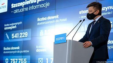 Konferencja prasowa szefa KPRM Michała Dworczyka
