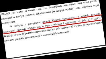 Fragment uzasadnienia decyzji dot. preparatu ellaOne