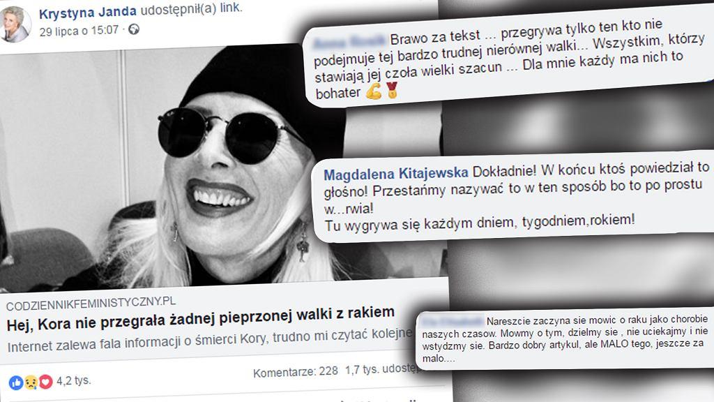 Krystyna Janda udostępniła post pana Radka o raku. Internauci poruszeni