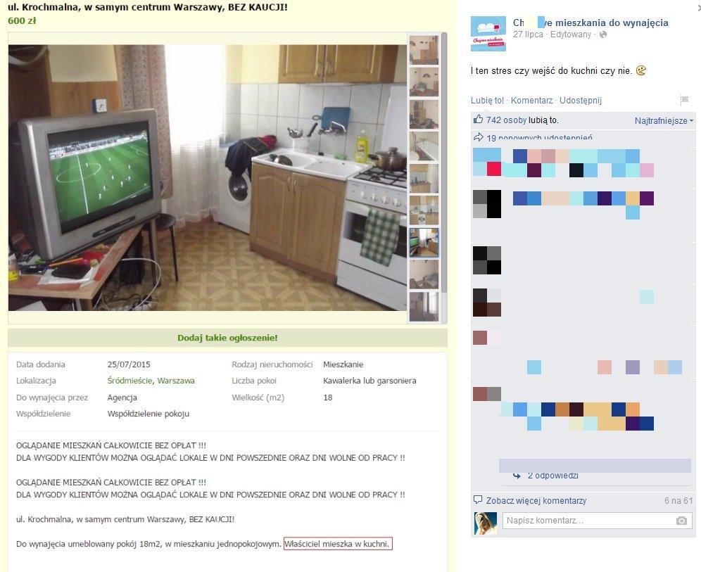 Ch**jowe mieszkania do wynajęcia/ Facebook