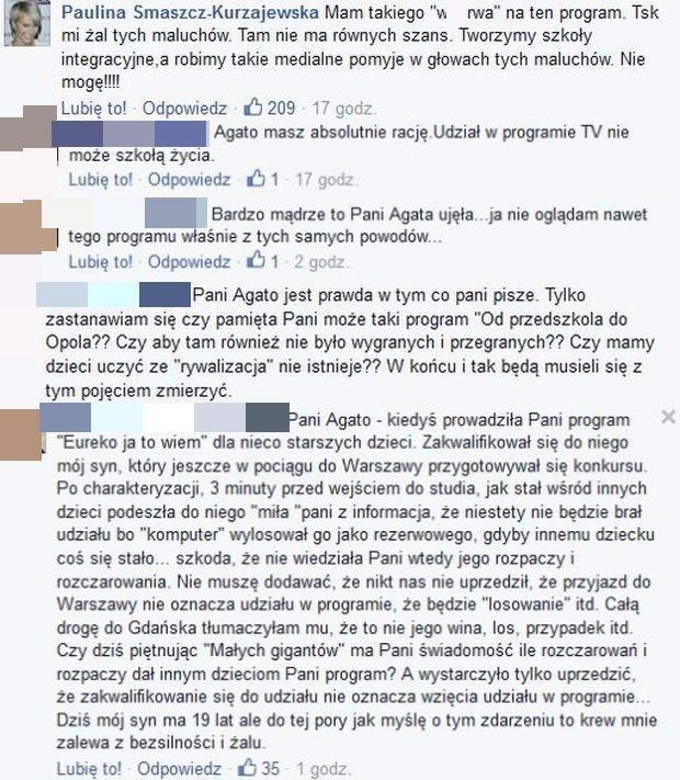 Komentarze na profilu Agaty Młynarskiej
