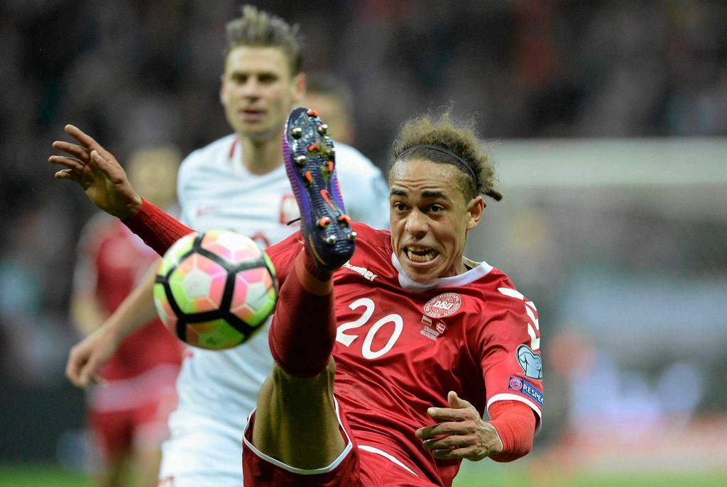 Yussuf Poulsen w meczu Polska - Dania