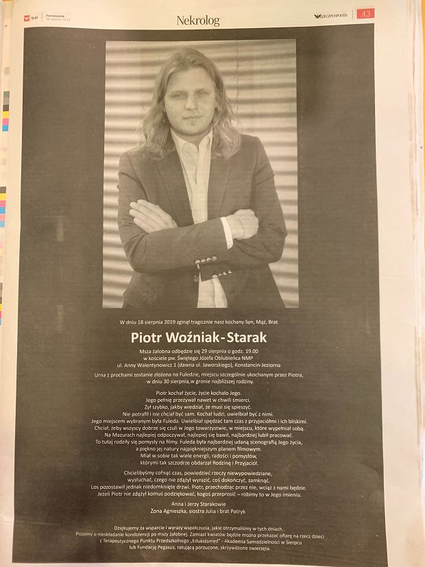 Nekrolog Piotra Woźniaka-Staraka