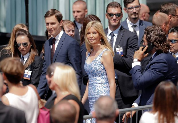 Ivanka Trump smiles and waves as she arrives with her husband Jared Kushner, senior advisor of President Donald Trump, for U.S. President Donald Trump's speech in Krasinski Square, in Warsaw, Poland, Thursday, July 6, 2017.(AP Photo/Petr David Josek)