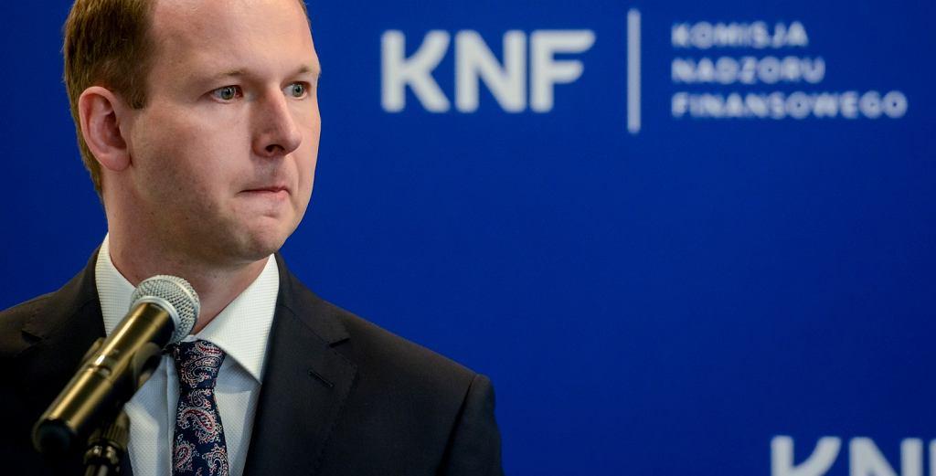 Były już przewodniczący KNF Marek Chrzanowski. Na zdjęciu: podczas konferencji Komisji Nadzoru Finansowego dot. nowo utworzonego Departamentu Innowacji Finansowych FinTech. Warszawa, 9 maja 2018