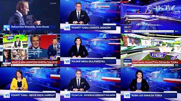 Kompilacja stopklatek z 'Wiadomości' TVP wykonana przez TVN i opublikowana w 'Faktach' TVN