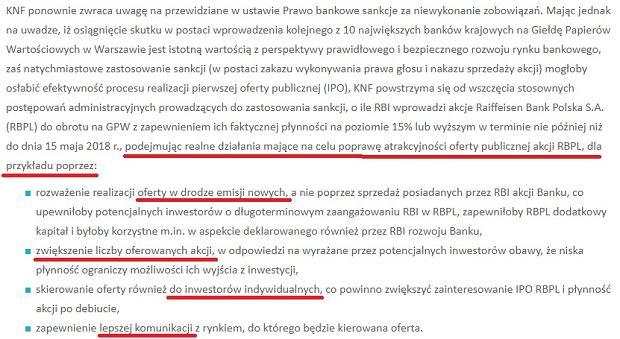 Fragment komunikatu KNF w sprawie Raiffeisena