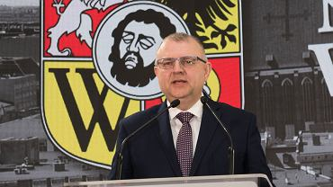 7.04.2018, Kazimierz Michał Ujazdowski podczas prezentacji swojej kandydatury na prezydenta Wrocławia.