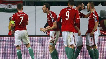 Radość reprezentantów Węgier po golu w meczu z Finalndią. Z prawej Gergo Lovrencsics (Lech Poznań)