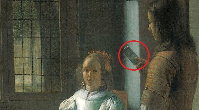Young woman with a letter and a messenger in an interior