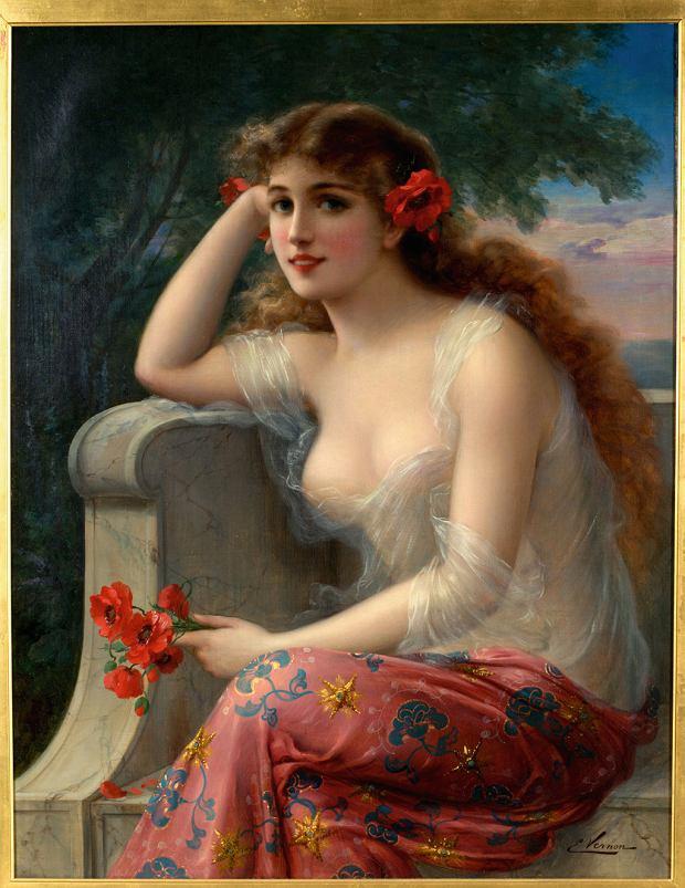 'Dziewczyna zmakami' obraz malarza kobiet -Émila Vernon'a  (1916 rok)