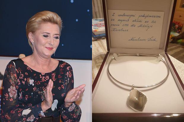 Agata Kornhauser-Duda wykazała się niezwykłą empatią. Oddała swój naszyjnik na licytację. Pieniądze mają zostać przeznaczone na leczenie chłopca chorego na SMA.
