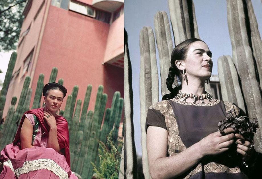 Frida Kahlo z kaktusami w tle