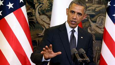 Belweder, prezydent USA Barack Obama podczas wspólnej konferencji prasowej z prezydentem RP Bronisławem Komorowskim.