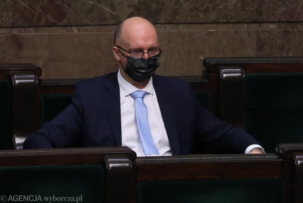 Piotr Wawrzyk podczas głosowania nad jego kandydaturą na urząd Rzecznika Praw Obywatelskich